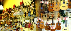 Island Bazaar's wall of ukulele and song books