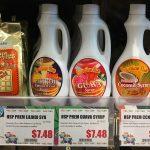 Maffles Mochi Waffle Mix, Hawaiian Sun Lilikoi Syrup, Guava Syrup, Coconut Syrup