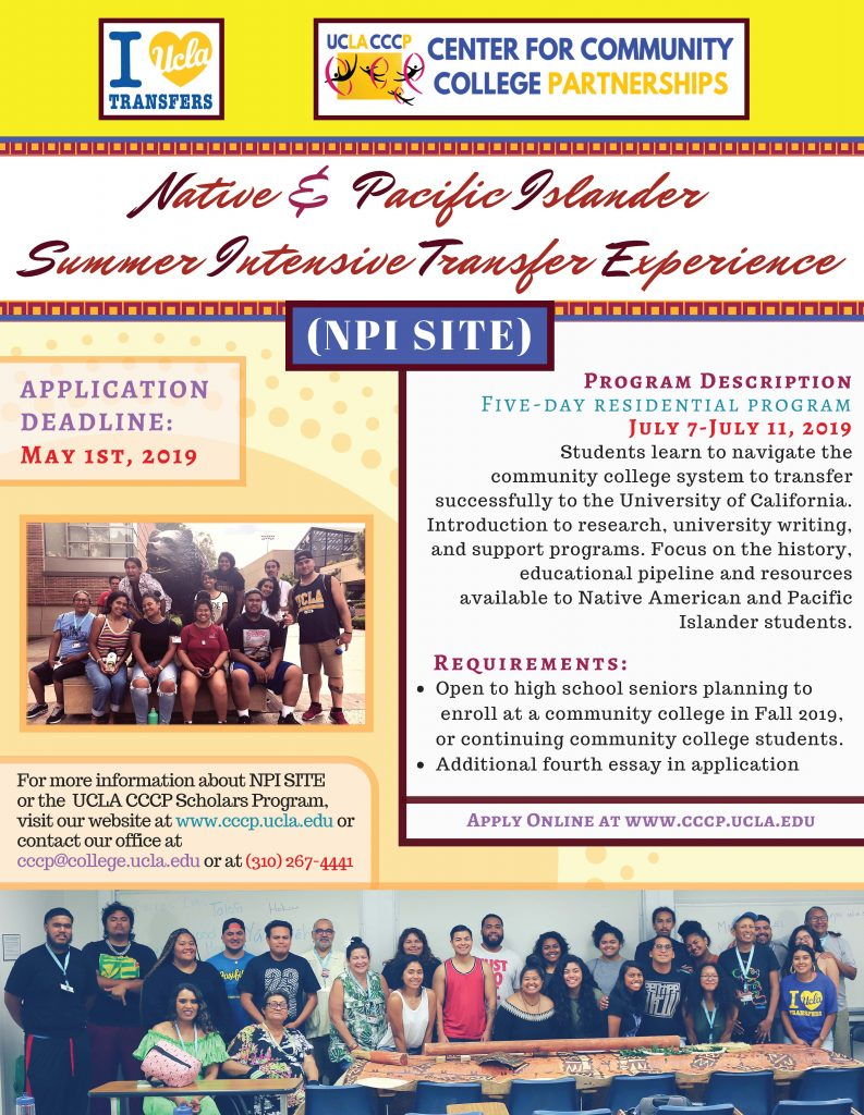 Native American & Pacific Islander Summer Intensive Transfer Experience