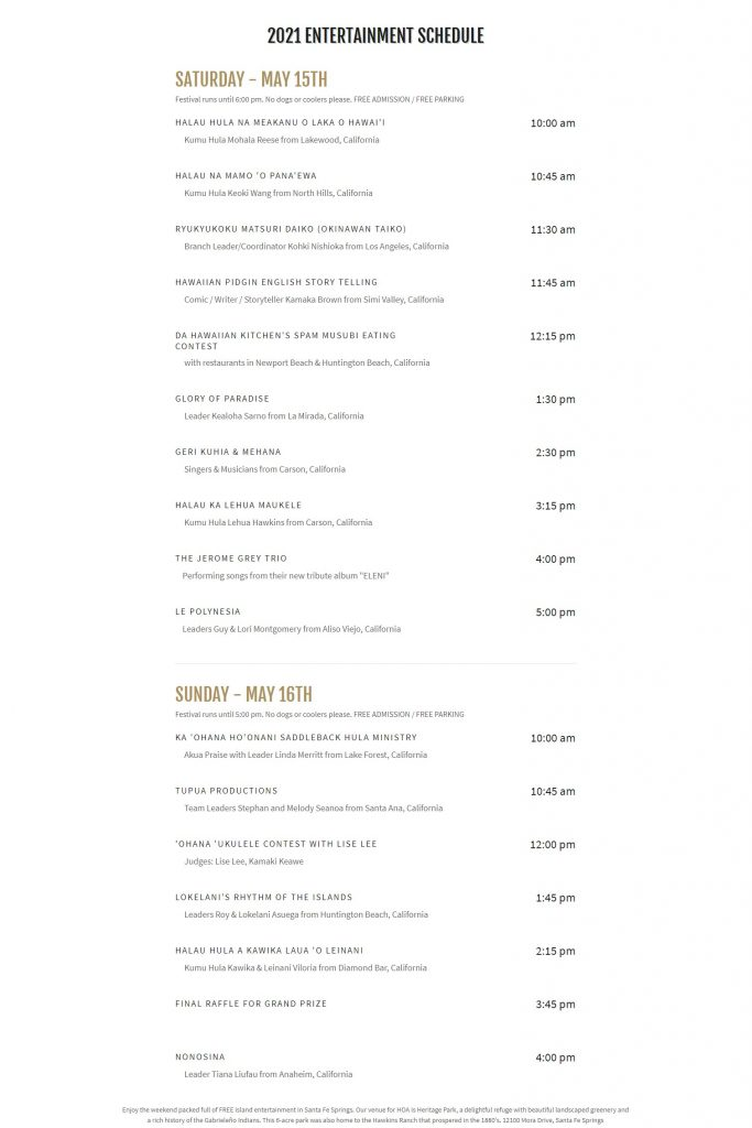 Heritage of Aloha Festival, Santa Fe Springs, 2021 Entertainment Schedule